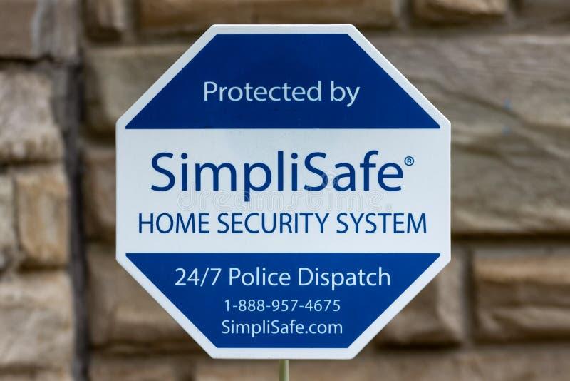 SimpliSafe住家安全系统标志和商标商标 免版税图库摄影