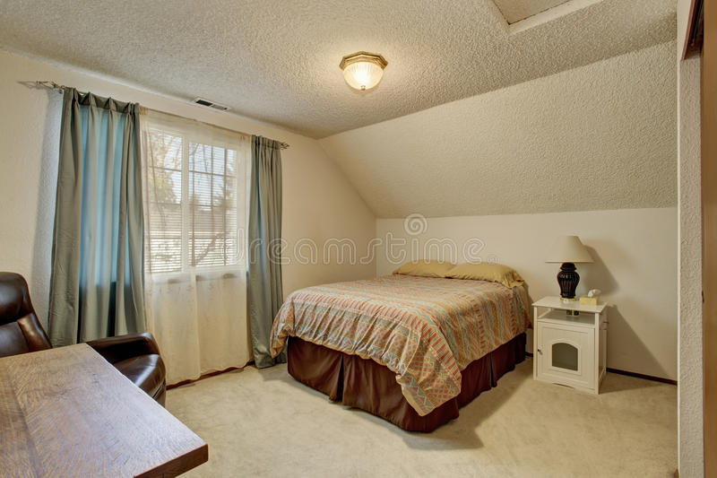 Download Simplistic Bedroom With Window And Bed. Stock Image   Image Of  Bedroom, House