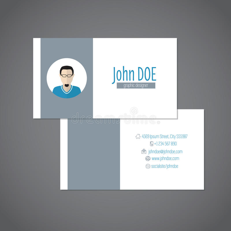 Simplistic Business Card With Photo Stock Vector - Image: 51221049