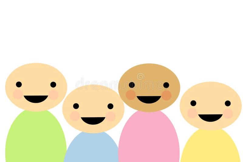 Simplistic Cartoon Children. An illustration featuring simplistic cartoon children smiling vector illustration