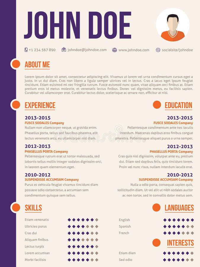 Simplistic yet colorful modern resume cv template royalty free illustration