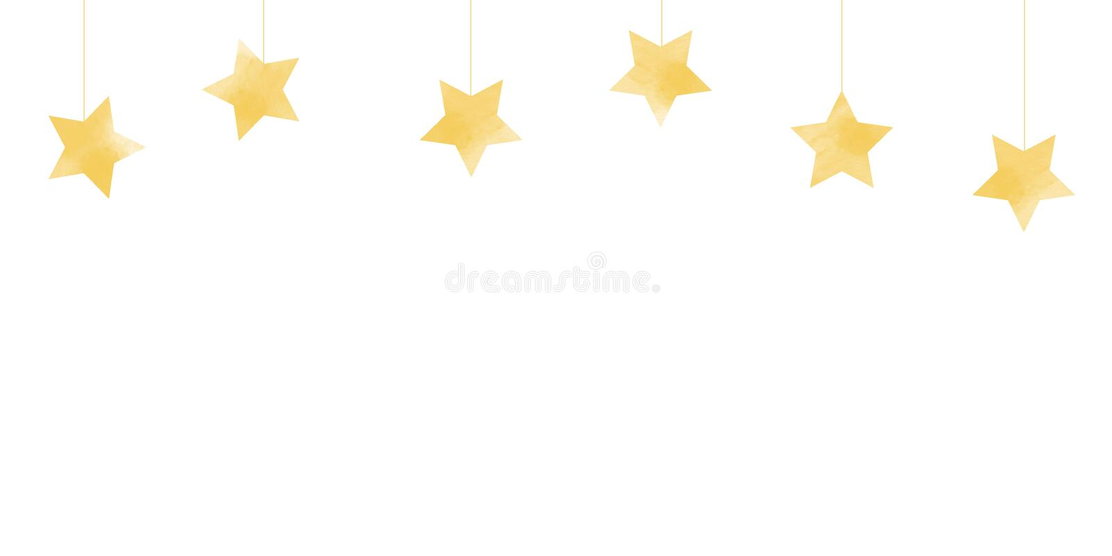 A simplistic illustration gold gradient stars on white bacDropping star or hanging stars on white background Christmas backgrounds. This illustration is yellow stock image