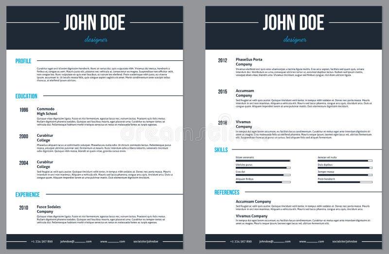Simplistic modern resume cv with stripes stock illustration