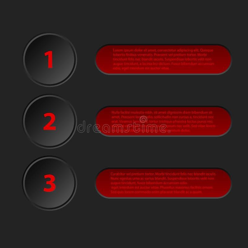 Simplistische 3d infographic in zwarte rode kleur stock illustratie
