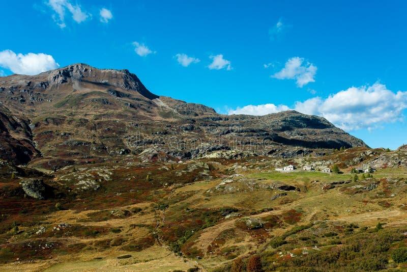 Simplon pass, alpine landscape of a mountain pass with church an royalty free stock photos