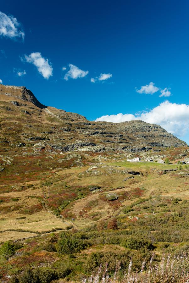 Simplon pass, alpine landscape of a mountain pass with church an stock photos