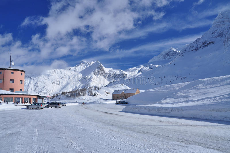 Simplon pass, Swiss Alps, Wallis. The Alpine Simplon pass under snow. Winter landscape in the Swiss Alps stock photography