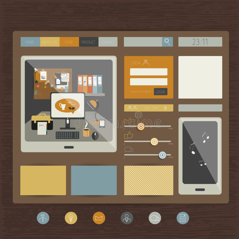 Simply flat web page. royalty free illustration