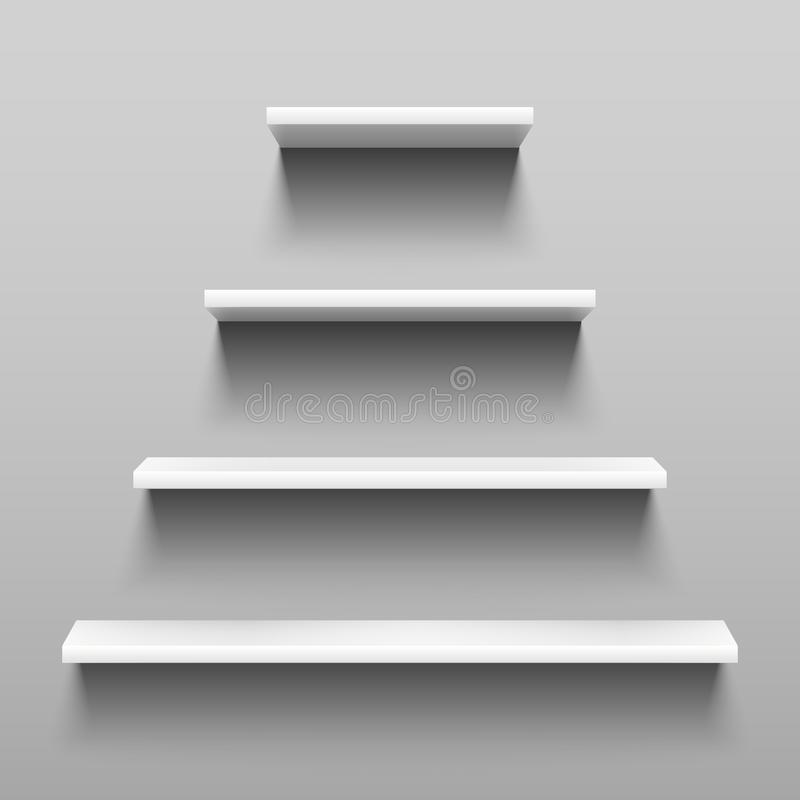 Simply shelves on white wall for indoor interior design. Retail 3d shelf with shadow vector set royalty free illustration