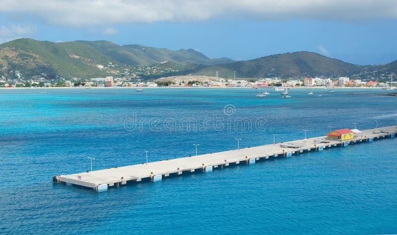Simpson-Baai en Grote Baai - Philipsburg Sint Maarten - Caraïbisch tropisch eiland stock afbeelding