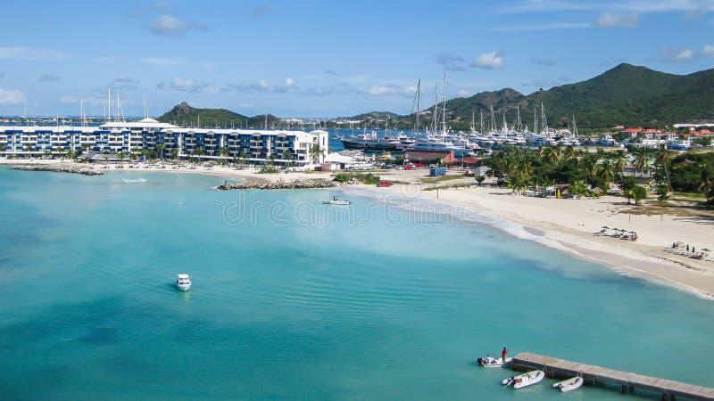Simpson-Baai op St Maarten stock afbeelding