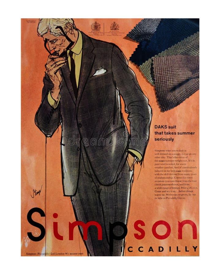 Simpson de Piccadilly Anuncio del vintage para la ropa de caballero de la moda 1970 fotografía de archivo libre de regalías