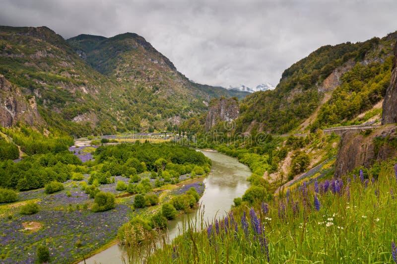 Simpson River Valley, Patagonia, Cile Giorno nuvoloso fotografia stock