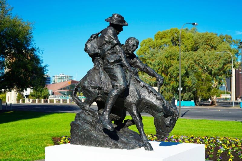 Simpson und seine Denkmalstatue des Esels ANZAC stockbilder
