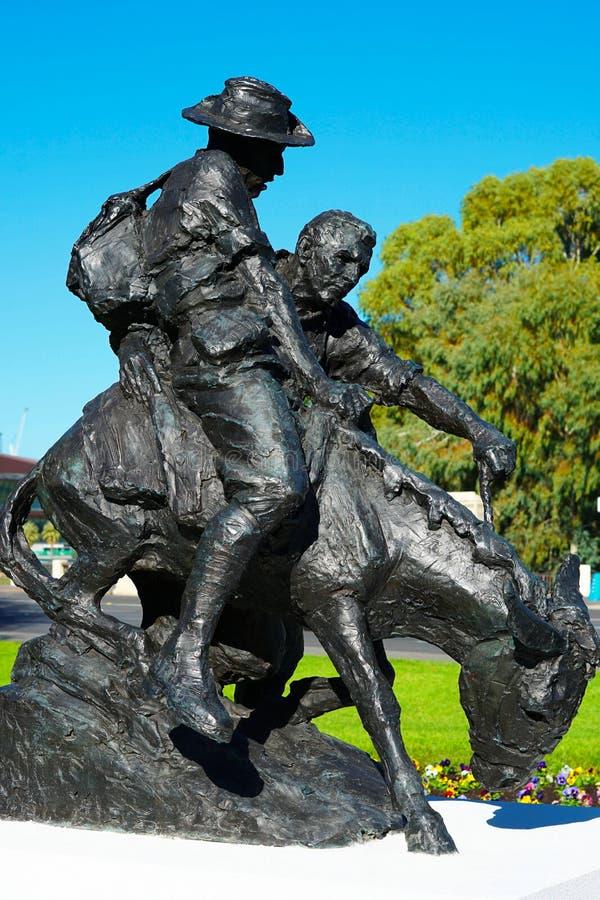 Simpson und seine Denkmalstatue des Esels ANZAC lizenzfreies stockfoto