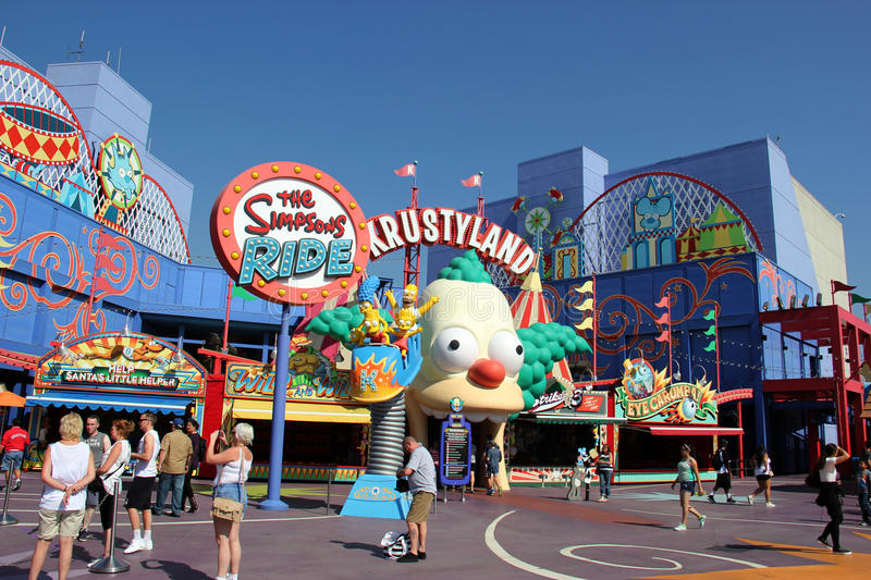 The Simpsons Ride at Universal Studios Hollywood royalty free stock photography
