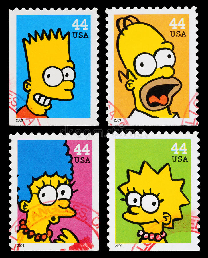 Free Simpsons TV Show Postage Stamps Royalty Free Stock Photo - 29708875