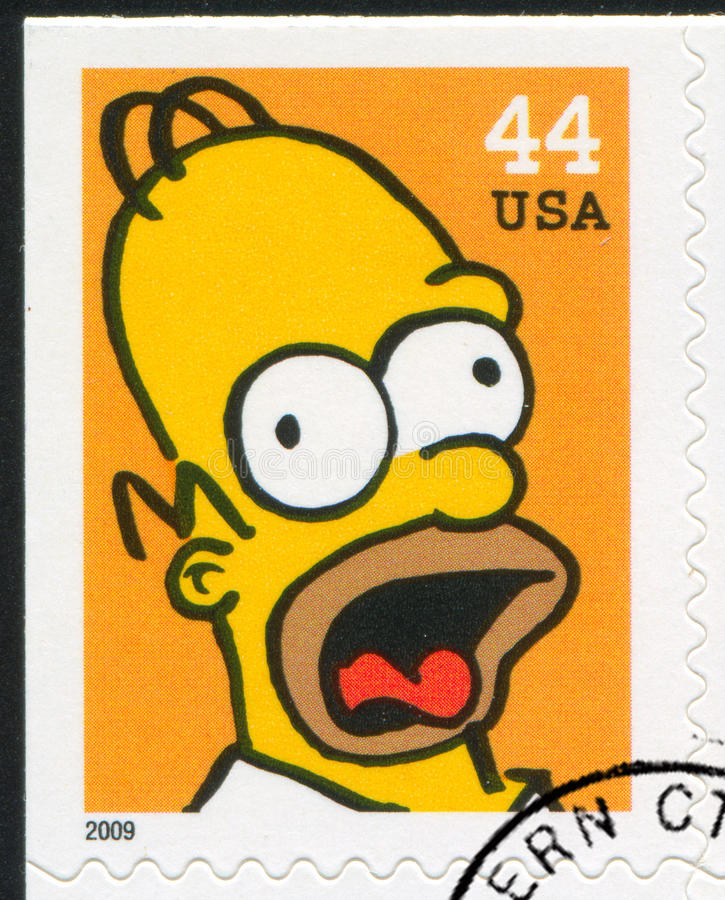 Simpsons. UNITED STATES CIRCA 2009: stamp printed by United States, shows Homer Jay Simpson, circa 2009 stock images