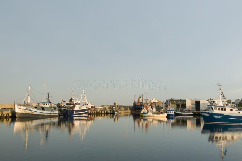 Simrishamn商业捕鱼业港口 图库摄影