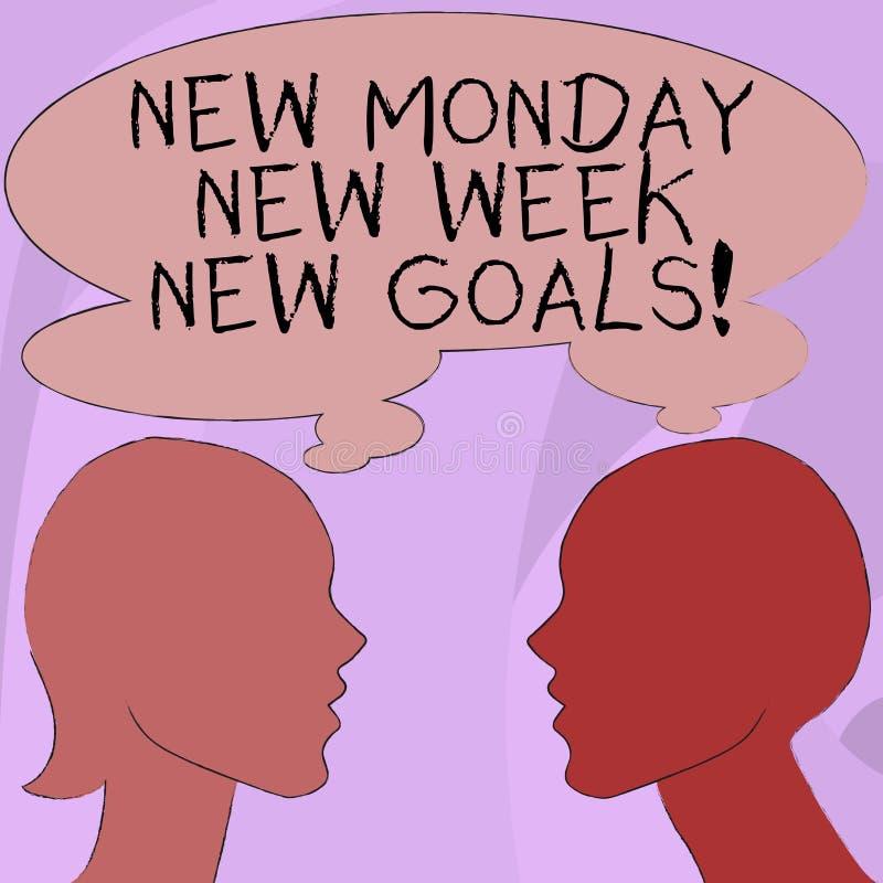Simsen Sie das Zeichen, das neuem Montag neue Wochen-neue Ziele zeigt Begriffsfotoauf wiedersehen Wochenende neue Zielziele begin vektor abbildung