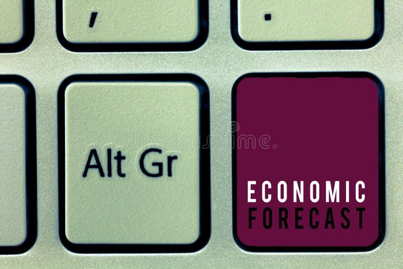 Simsen Sie das Zeichen, das wirtschaftlicher Prognose Begriffsfoto Prozess der Herstellung von Vorhersagen über die Wirtschaftszu lizenzfreies stockbild