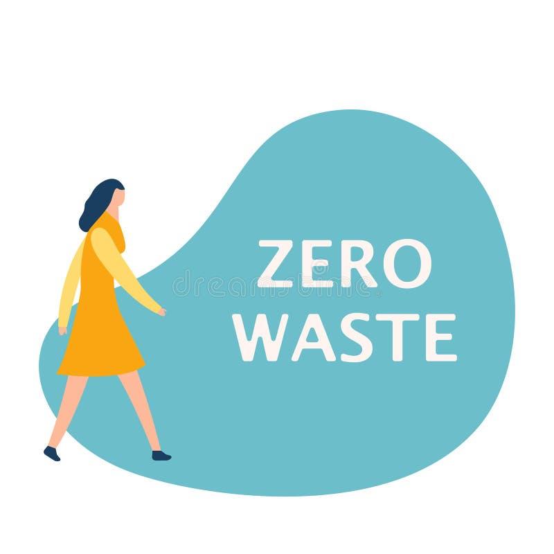 Simsen Sie nullabfall auf Blase Vektorkonzeptaufkleber für Ökologie und Sicherungsplaneten Frau, die unter Verwendung der Rede ge stock abbildung