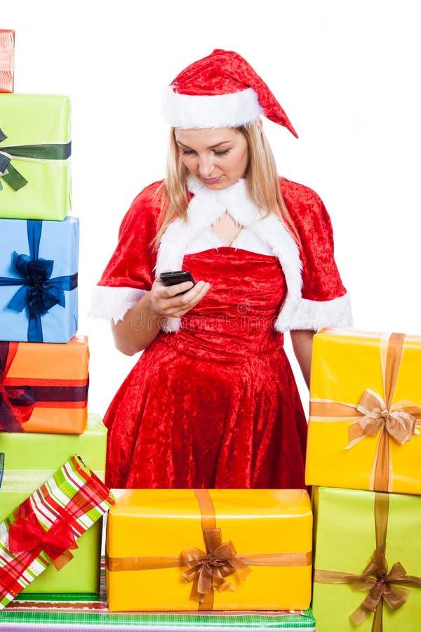 Simsende Mitteilung der Weihnachtsfrau stockbilder