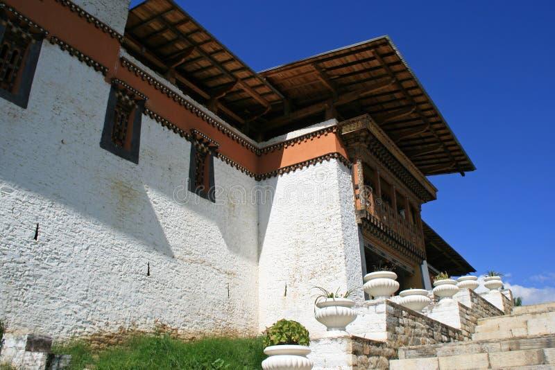Simtokha Dzong - Thimphu - Bhutan (3). The facade of the Simtokha Dzong in Thimphu (Bhutan). La façade du Simtokha Dzong à Thimphu (Bhoutan stock photo