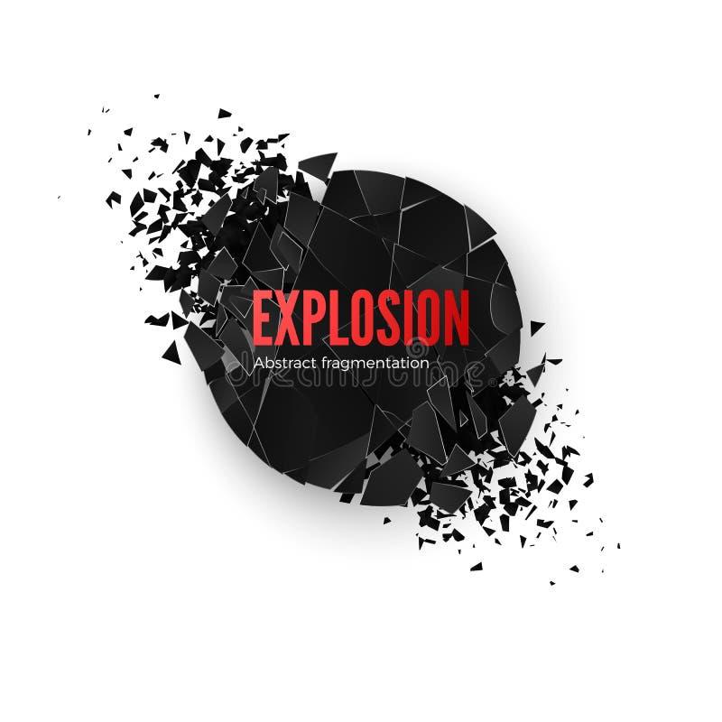 Simulación de la explosión de la bandera Estalle y destrucción Efecto del fragmento del círculo Ejemplo del vector aislado en fon stock de ilustración