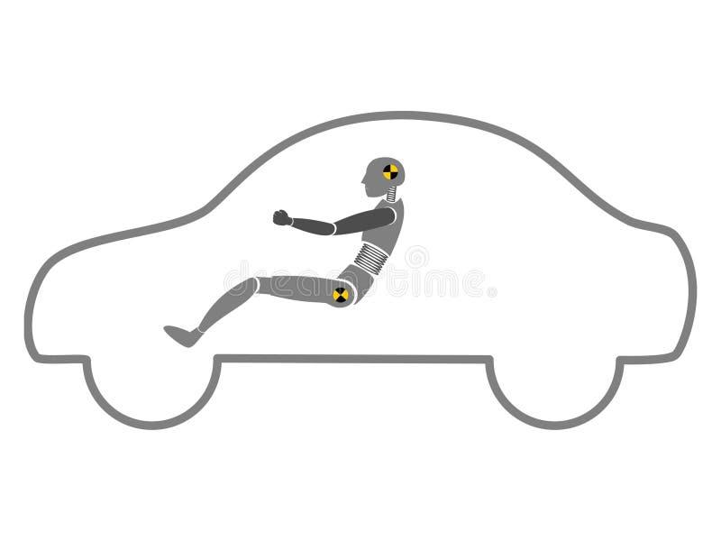 Simulacre d'essai de crash dans le vecteur d'ensemble de véhicule illustration de vecteur
