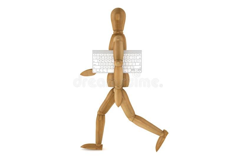Simulacre en bois avec le clavier d'ordinateur photographie stock libre de droits