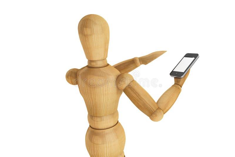 Simulacre en bois avec le smartphone mobile image libre de droits