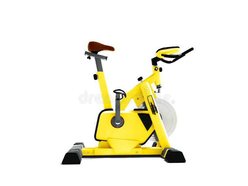 Simulador amarillo de la bici del deporte para la vista lateral 3d de la forma de vida deportiva con referencia a stock de ilustración