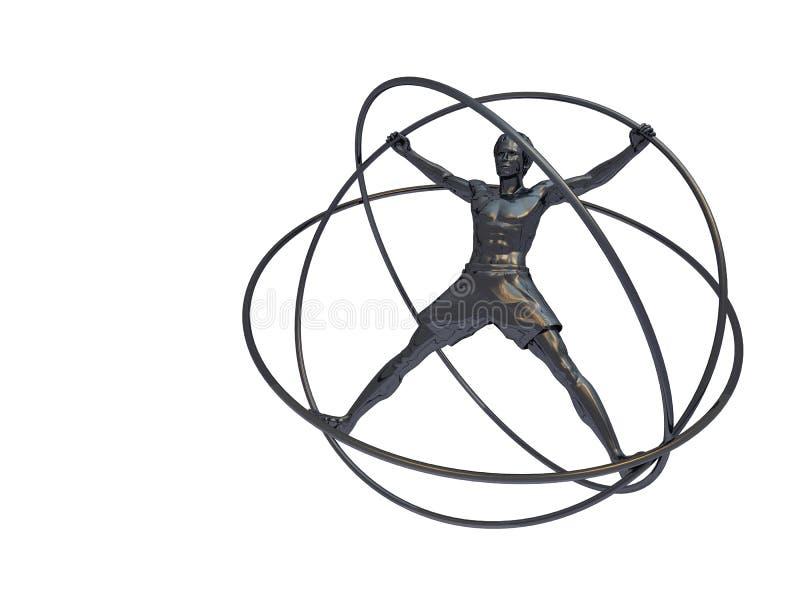 simulateur d'homme d'isolement par gyroscope illustration de vecteur