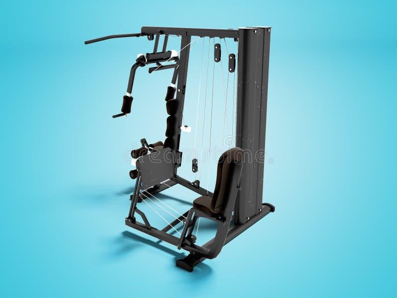 Simulateur moderne de sports pour les bras et les jambes 3d de formation de force rendre sur le fond bleu avec l'ombre illustration stock