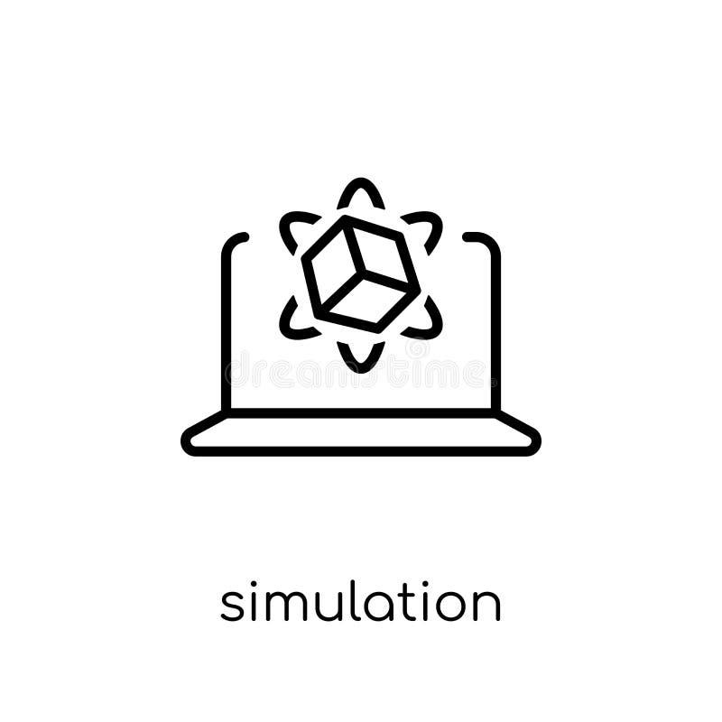 Simulatiepictogram In moderne vlakke lineaire vectorsimulatieico stock illustratie