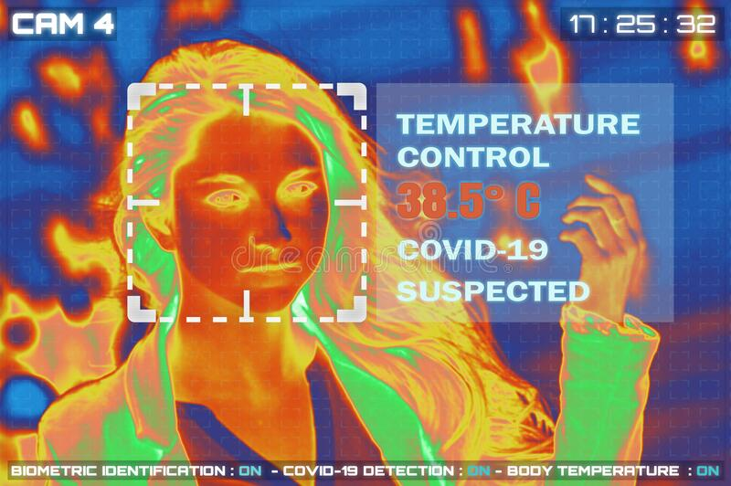 Simulation of body temperature check by thermoscan or infrared thermal camera. For against epidemic flu covid19 or corona virus royalty free stock photo
