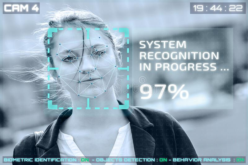 Simulation of a screen of cctv cameras with facial recognition. Facial recognition of a woman royalty free stock image