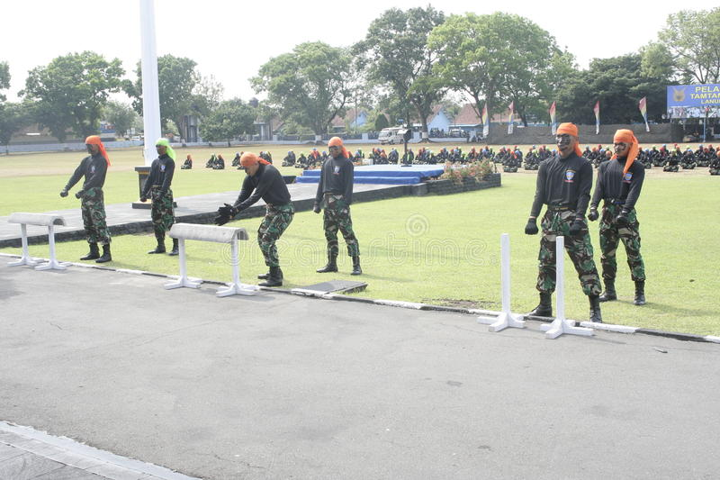 Simulation soldiers hostage release. Indonesian air force troops in Karanganyar, Central Java, simulating the release of hostages royalty free stock photo
