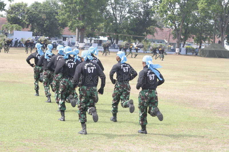 Simulation soldiers hostage release. Indonesian air force troops in Karanganyar, Central Java, simulating the release of hostages royalty free stock image