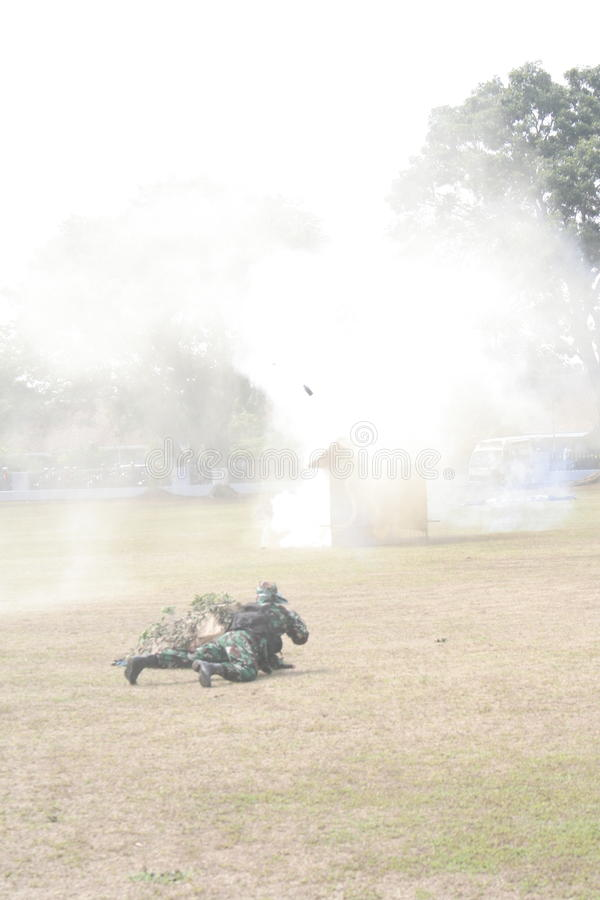 Simulation soldiers hostage release. Indonesian air force troops in Karanganyar, Central Java, simulating the release of hostages royalty free stock photography