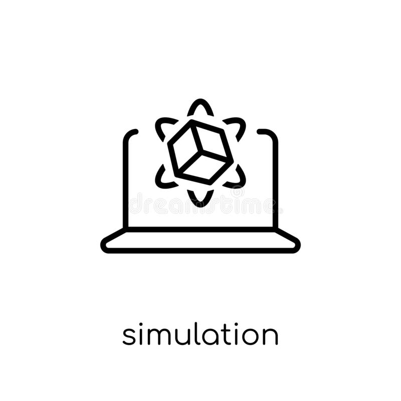 Simulationsikone Modisches modernes flaches lineares Vektor Simulation ico stock abbildung