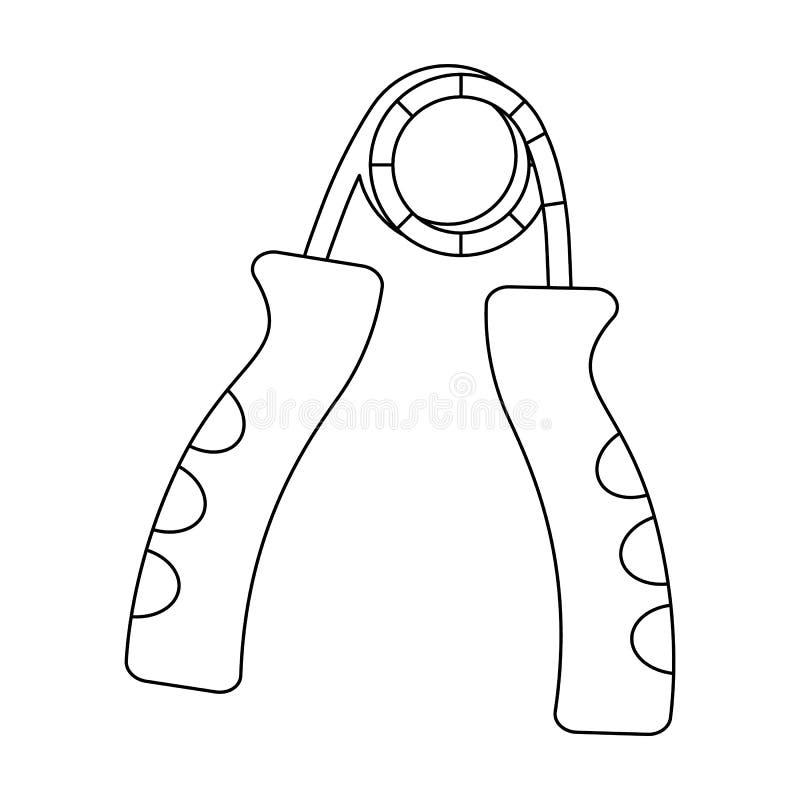 Simulatore per la mano su un meccanismo della molla La singola icona di allenamento e della palestra nel profilo disegna l'illust illustrazione di stock