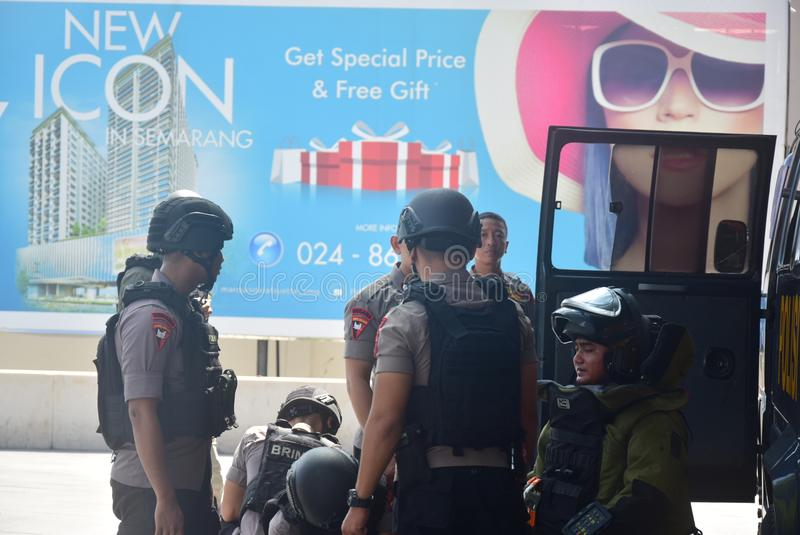 Simulazione di sicurezza della bomba in corona Samarang dell'hotel immagine stock libera da diritti