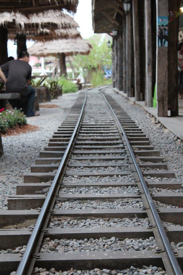 Simuleer spoorweg in de markt stock afbeeldingen