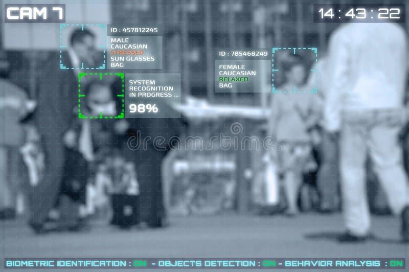 Simulering av en skärm av cctv-kameror med ansikts- erkännande royaltyfri foto