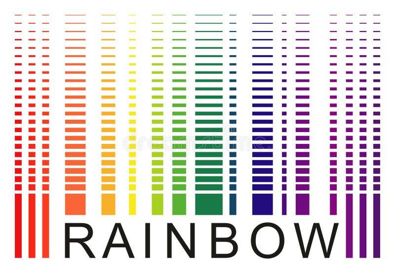 Simuli l'parola-arcobaleno del codice a barre, pendenza discreta isolato su bianco illustrazione di stock