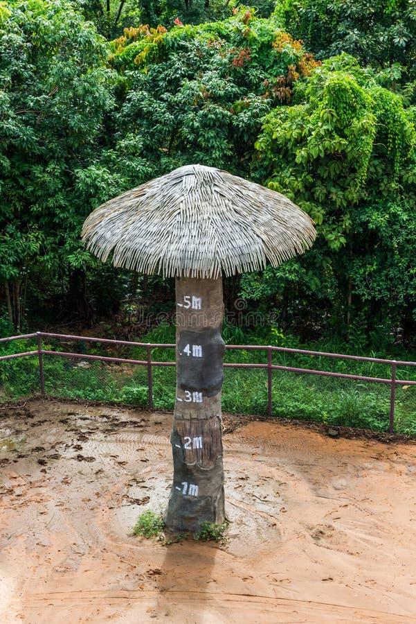 Simulierter Baum gemacht durch Zement mit Höhenskala stockfotos
