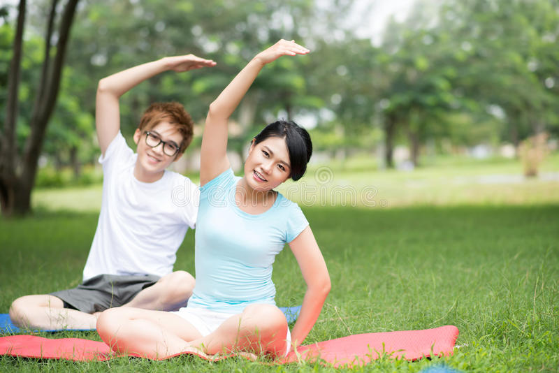 Simultaneous Stretching Royalty Free Stock Images