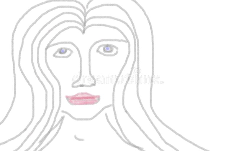 Symmetric frontal Portrait of a Female Person royalty free illustration